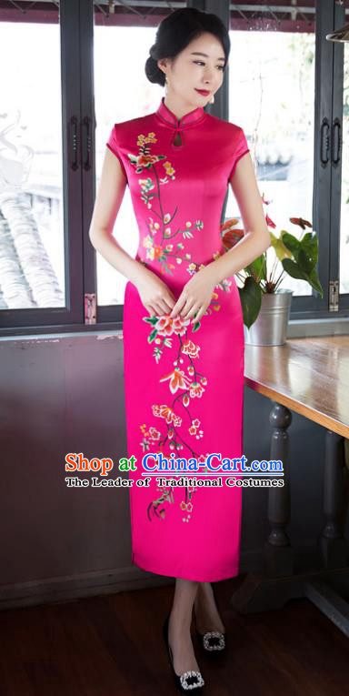 Top Grade Chinese Elegant Cheongsam Traditional China Tang Suit Rosy Silk Qipao Dress for Women