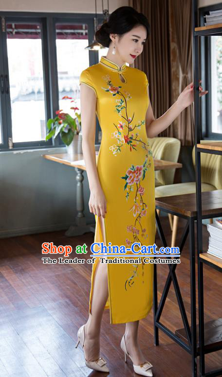 Top Grade Chinese Elegant Cheongsam Traditional China Tang Suit Yellow Silk Qipao Dress for Women