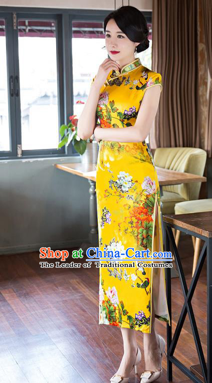 Top Grade Chinese Elegant Cheongsam Traditional China Tang Suit Printing Peony Yellow Silk Qipao Dress for Women