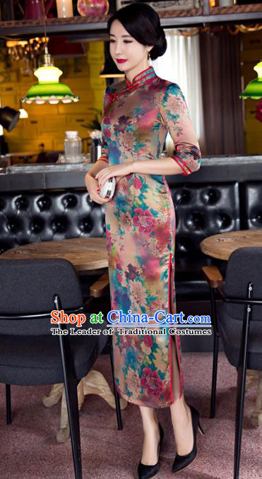 Top Grade Chinese Elegant Cheongsam Traditional China Tang Suit Printing Silk Qipao Dress for Women