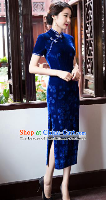 Top Grade Chinese Elegant Cheongsam Traditional China Tang Suit Blue Velvet Qipao Dress for Women