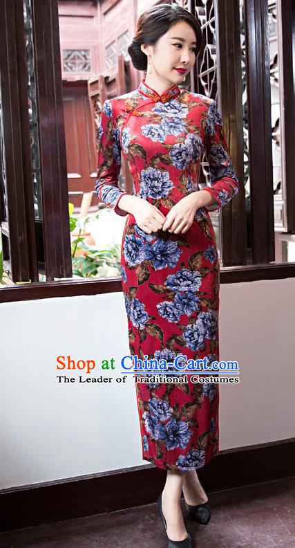 Top Grade Chinese Elegant Red Cheongsam Traditional China Tang Suit Printing Peony Qipao Dress for Women