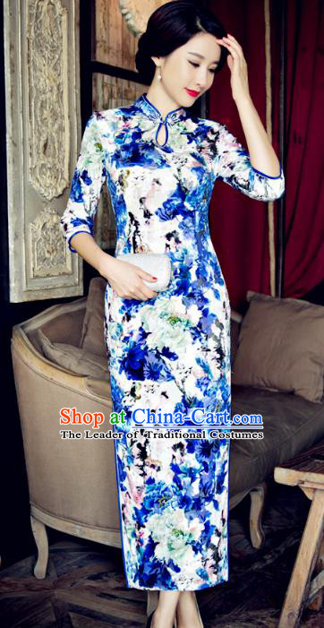 Top Grade Chinese Elegant Blue Velvet Cheongsam Traditional China Tang Suit Qipao Dress for Women