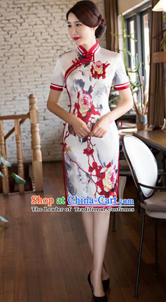 Top Grade Chinese Elegant Printing Cheongsam Traditional China Tang Suit Qipao Dress for Women