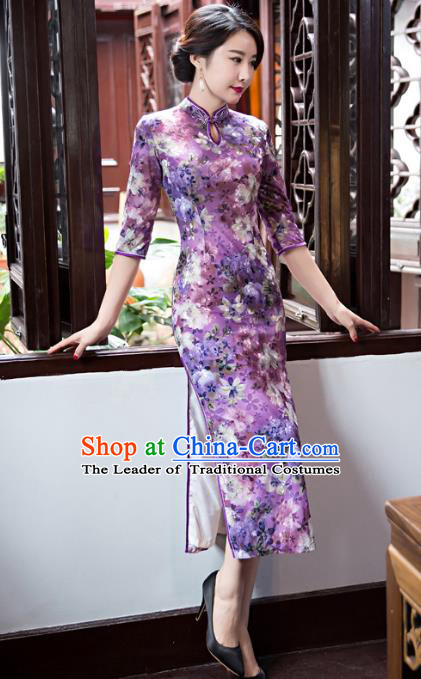 Top Grade Chinese Elegant Purple Velvet Cheongsam Traditional China Tang Suit Qipao Dress for Women