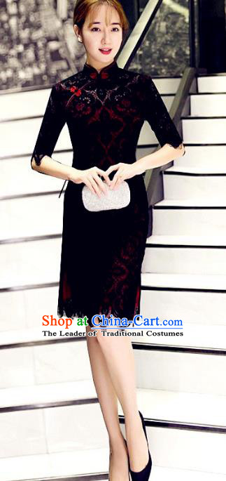 Top Grade Chinese Elegant Black Lace Tassel Cheongsam Traditional China Tang Suit Qipao Dress for Women