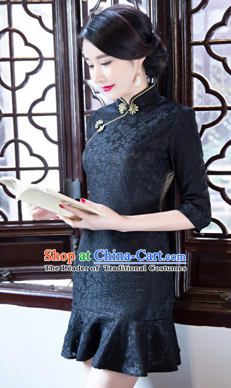Top Grade Chinese Elegant Black Lace Short Cheongsam Traditional China Tang Suit Qipao Dress for Women