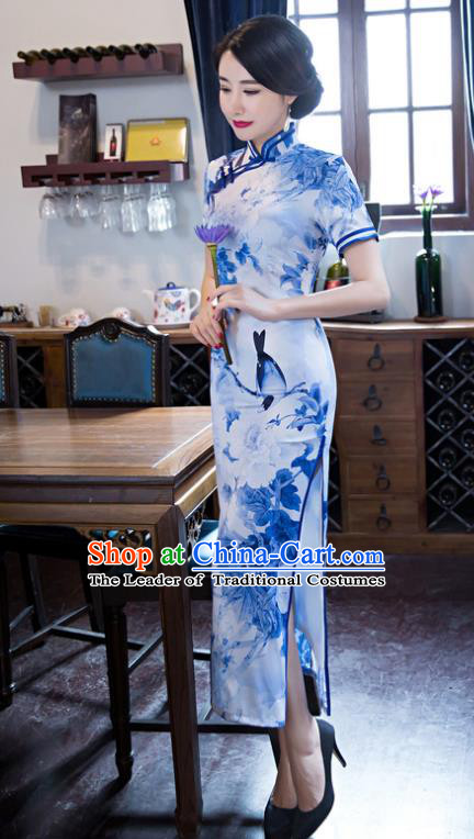Top Grade Chinese Elegant Printing Blue Silk Cheongsam Traditional China Tang Suit Qipao Dress for Women