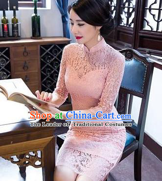 Top Grade Chinese Elegant Short Cheongsam Traditional China Tang Suit Pink Lace Qipao Dress for Women