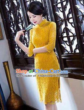 Top Grade Chinese Elegant Short Cheongsam Traditional China Tang Suit Yellow Lace Qipao Dress for Women
