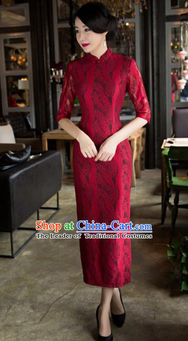 Top Grade Chinese Elegant Cheongsam Traditional China Red Lace Tang Suit Qipao Dress for Women