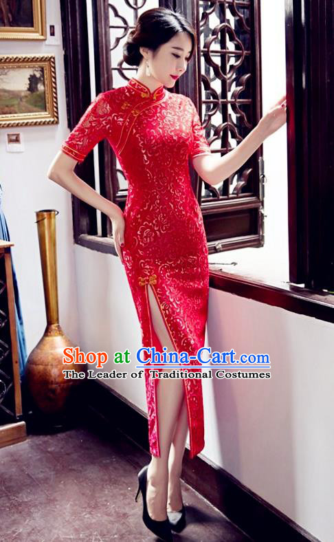 Top Grade Chinese Elegant Red Cheongsam Traditional China Tang Suit Qipao Dress for Women