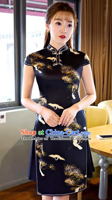 Chinese Top Grade Elegant Qipao Dress Traditional Republic of China Tang Suit Printing Pineburst Cheongsam for Women