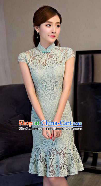 Chinese Top Grade Elegant Qipao Dress Traditional Republic of China Tang Suit Green Lace Short Cheongsam for Women