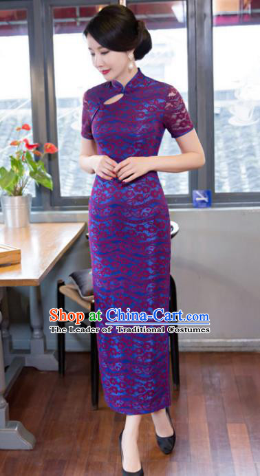 Chinese Top Grade Elegant Qipao Dress Traditional Republic of China Tang Suit Purple Lace Cheongsam for Women