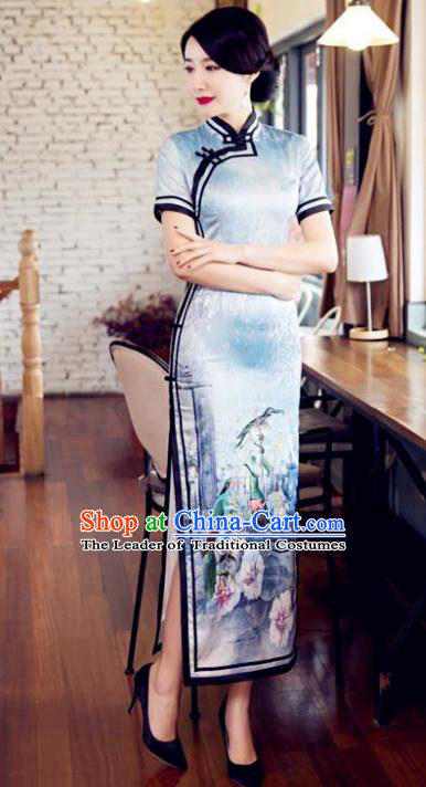 Chinese Top Grade Elegant Qipao Dress Traditional Republic of China Tang Suit Printing Silk Cheongsam for Women