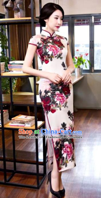 Chinese Top Grade Elegant Printing Peony Silk Qipao Dress Traditional Republic of China Tang Suit Cheongsam for Women