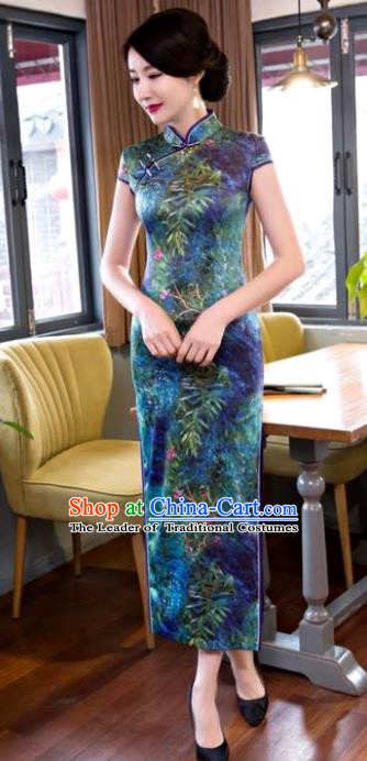 Chinese Top Grade Elegant Printing Green Silk Qipao Dress Traditional Republic of China Tang Suit Cheongsam for Women