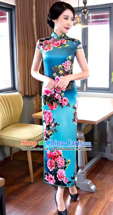 Chinese Top Grade Elegant Printing Peony Blue Silk Qipao Dress Traditional Republic of China Tang Suit Cheongsam for Women