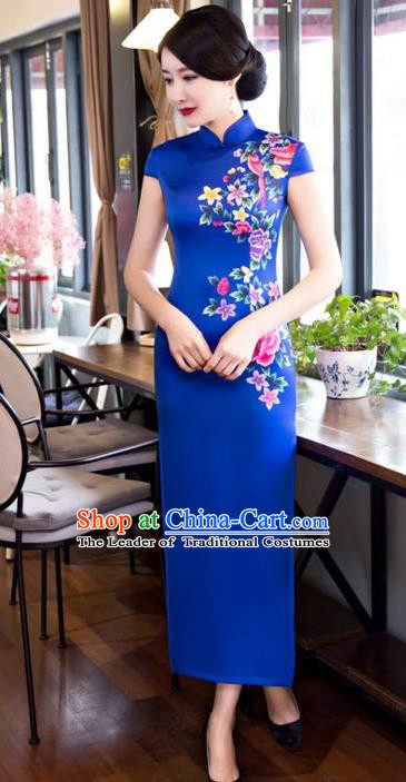 Chinese Top Grade Elegant Printing Peony Flowers Blue Silk Qipao Dress Traditional Republic of China Tang Suit Cheongsam for Women