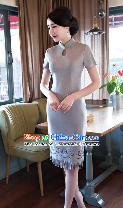 Chinese Top Grade Elegant Suede Fabric Qipao Dress Traditional Republic of China Tang Suit Grey Cheongsam for Women