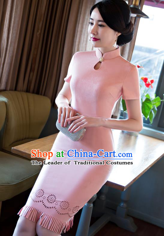 Chinese Top Grade Elegant Suede Fabric Qipao Dress Traditional Republic of China Tang Suit Pink Cheongsam for Women