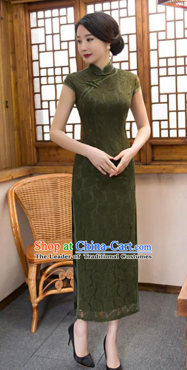 Chinese Top Grade Elegant Olive Green Lace Qipao Dress Traditional Republic of China Tang Suit Cheongsam for Women
