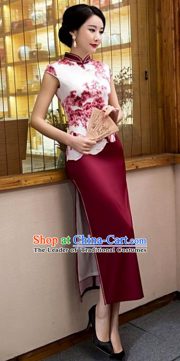 Chinese Top Grade Elegant Purple Silk Qipao Dress Traditional Republic of China Tang Suit Cheongsam for Women