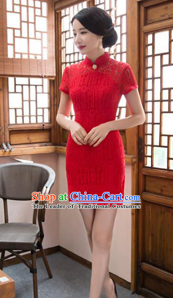 Chinese Top Grade Elegant Wedding Qipao Dress Traditional Republic of China Tang Suit Red Cheongsam for Women