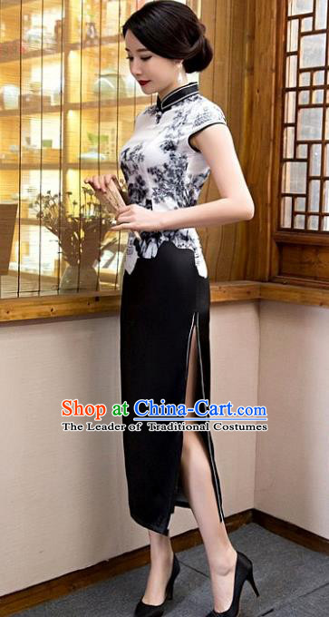 Chinese Top Grade Elegant Black Silk Qipao Dress Traditional Republic of China Tang Suit Cheongsam for Women