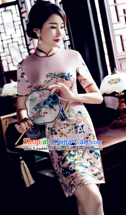 Chinese Top Grade Elegant Cheongsam Traditional Republic of China Tang Suit Pink Qipao Dress for Women