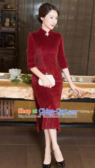Chinese Top Grade Elegant Red Wool Cheongsam Traditional Republic of China Tang Suit Qipao Dress for Women