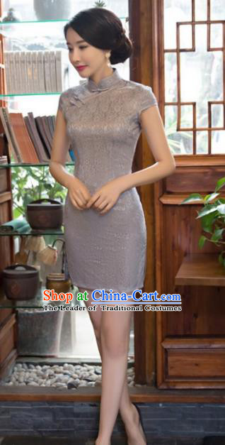 Chinese Top Grade Elegant Grey Lace Short Qipao Dress Traditional Republic of China Tang Suit Cheongsam for Women