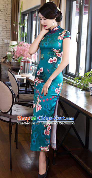 Chinese Top Grade Elegant Printing Flowers Green Cheongsam Traditional Republic of China Tang Suit Qipao Dress for Women