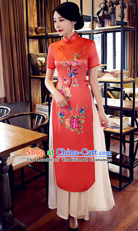Chinese Top Grade Elegant Printing Peony Orange Cheongsam Traditional Republic of China Tang Suit Qipao Dress for Women