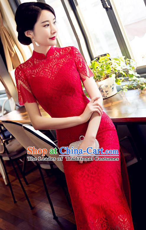 Chinese Top Grade Elegant Cheongsam Traditional Republic of China Tang Suit Red Lace Qipao Dress for Women