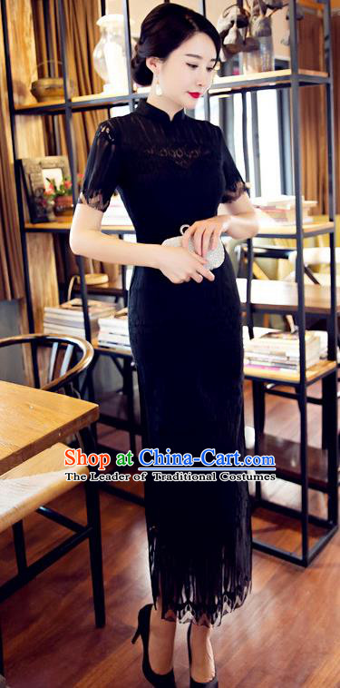 Chinese Top Grade Elegant Cheongsam Traditional Republic of China Tang Suit Black Lace Qipao Dress for Women