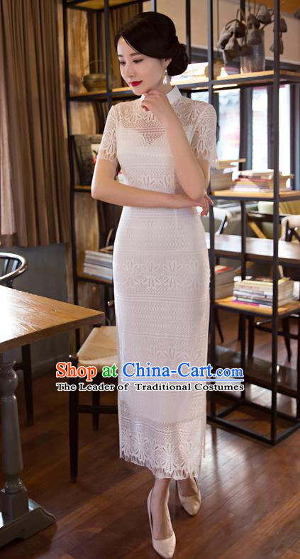 Chinese Top Grade Elegant Cheongsam Traditional Republic of China Tang Suit White Lace Qipao Dress for Women