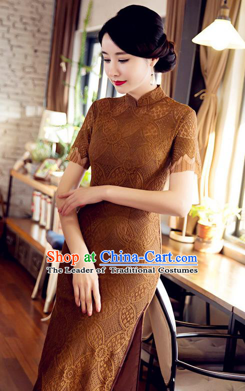 Chinese Top Grade Elegant Cheongsam Traditional Republic of China Tang Suit Ginger Lace Qipao Dress for Women