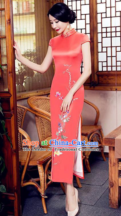 Chinese Top Grade Elegant Cheongsam Traditional Republic of China Tang Suit Orange Silk Qipao Dress for Women