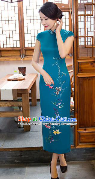 Chinese Top Grade Elegant Cheongsam Traditional Republic of China Tang Suit Green Silk Qipao Dress for Women