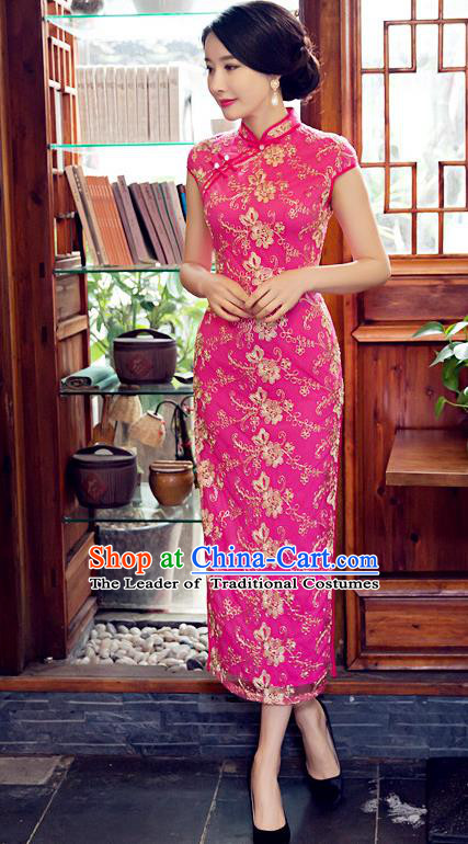 Chinese Top Grade Elegant Embroidered Cheongsam Traditional Republic of China Tang Suit Rosy Qipao Dress for Women