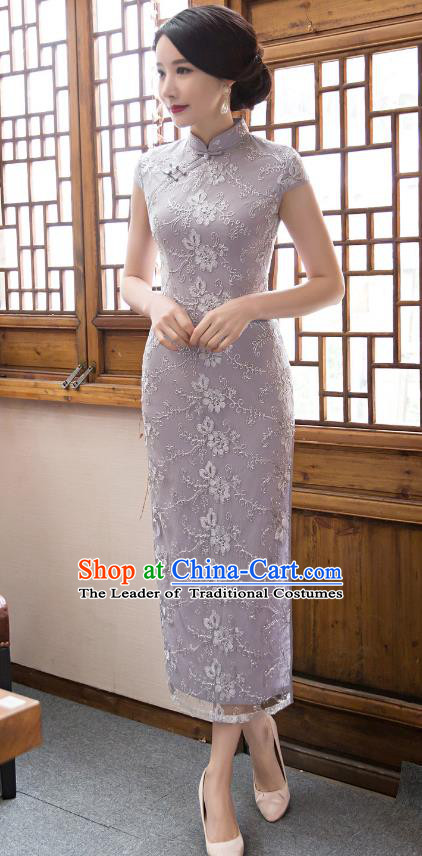 Chinese Top Grade Elegant Embroidered Cheongsam Traditional Republic of China Tang Suit Grey Qipao Dress for Women