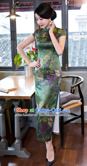 Top Grade Chinese Elegant Printing Green Silk Cheongsam Traditional Republic of China Tang Suit Qipao Dress for Women