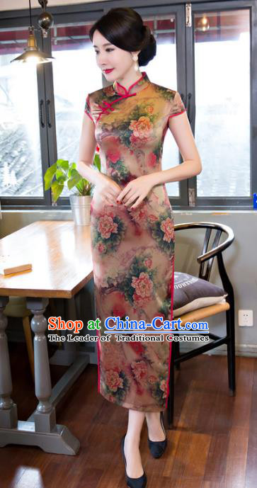 Top Grade Chinese Elegant Printing Peony Silk Cheongsam Traditional Republic of China Tang Suit Qipao Dress for Women