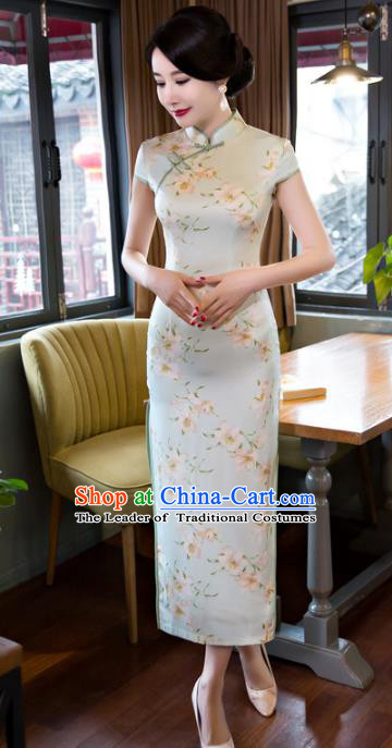 Top Grade Chinese Elegant Printing Light Green Cheongsam Traditional Republic of China Tang Suit Qipao Dress for Women