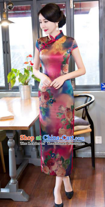 Top Grade Chinese Elegant Printing Cheongsam Traditional Republic of China Tang Suit Silk Qipao Dress for Women