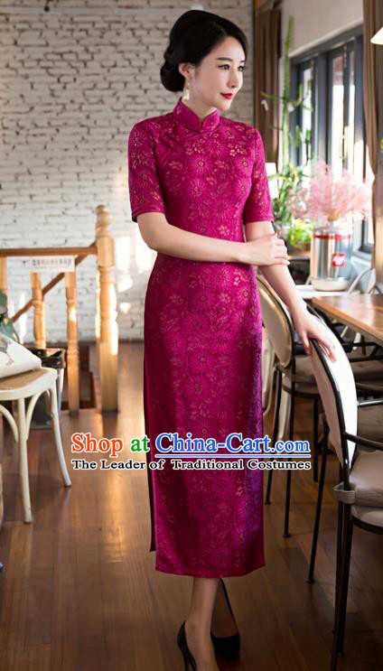 Chinese Top Grade Elegant Rosy Lace Cheongsam Traditional Republic of China Tang Suit Qipao Dress for Women