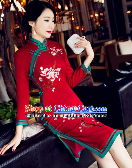 Top Grade Chinese Elegant Red Woolen Cheongsam Traditional China Tang Suit Qipao Dress for Women