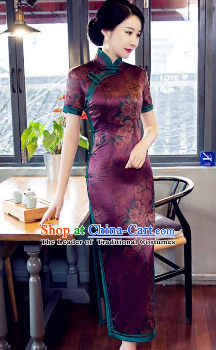 Traditional Top Grade Chinese Elegant Printing Purple Silk Cheongsam China Tang Suit Qipao Dress for Women